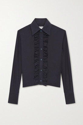 Saint Laurent Ruffled Cotton-poplin Shirt - Navy