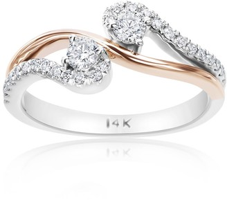 Summerrose Jewelry Summer Rose 14k White and Yellow Gold 2/5ct TDW Forever 2-stone Ring