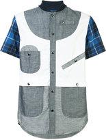 Mostly Heard Rarely Seen paneled shortsleeved shirt - men - Cotton/Linen/Flax/Tencel - S
