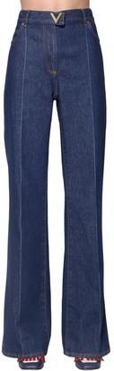Valentino High Waist Flared Cotton Denim Jeans