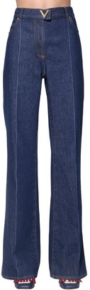 Valentino High Waist Flared Cotton Denim Jeans