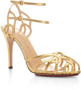 Charlotte Olympia Ursula Metallic Leather Sandals