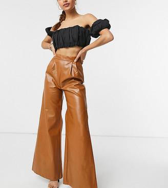 NaaNaa Petite faux leather wide leg trousers in tan
