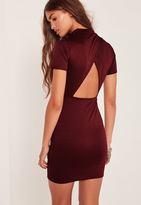 Missguided Open Back High Neck Bodycon Dress Burgundy
