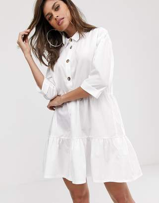 Asos Design DESIGN button through tiered mini smock dress