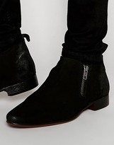Asos Chelsea Boots in Black Suede With Double Zip