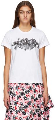 Comme des Garcons White Floral Print Logo T-Shirt