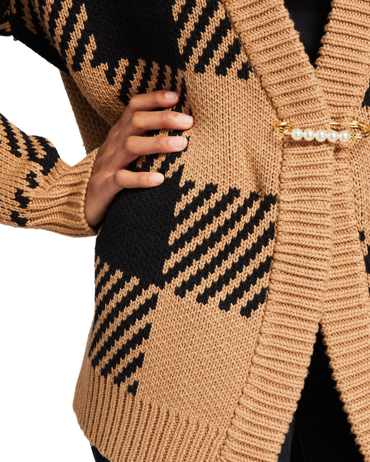 Thumbnail for your product : Mother of Pearl Oversized Plaid Cardigan with Pearl Safety Pin