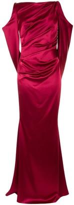 Talbot Runhof Ponceau open-shoulder gown