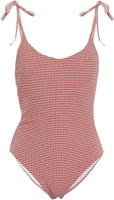 Onia Bow-detailed Gingham Seersucker Swimsuit