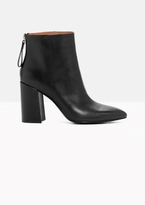 Other Stories Flared Heel Leather Boots