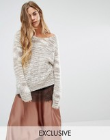 Seint Relaxed V Neck Sweater In Oatmeal Marble