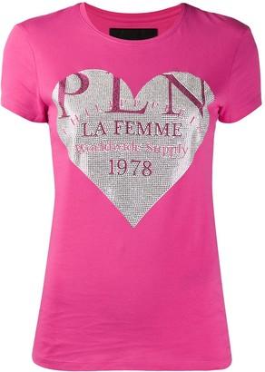 Philipp Plein crystal heart T-shirt