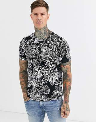 Bershka Join Life Organic Cotton regular fit t-shirt in black/white-Multi