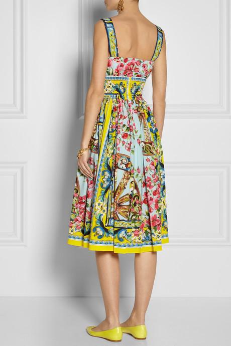 Dolce & Gabbana Printed cotton-poplin dress
