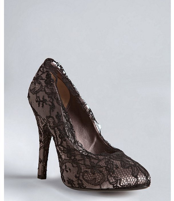 Dolce & Gabbana grey satin and chantilly lace pumps