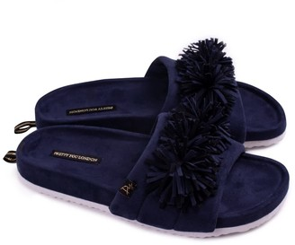 Pretty You London Albany Indoor Outdoor Slider Slipper In Navy