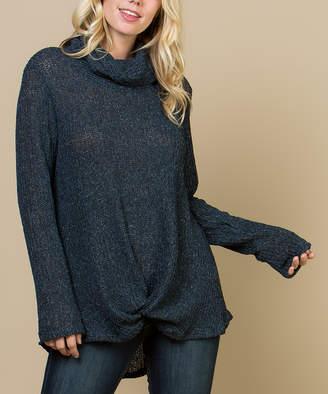 Acting Pro Women's Pullover Sweaters Navy - Navy Cowl Neck Hi-Low Sweater - Women