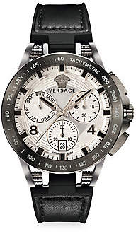 Versace Men's Sport Tech Stainless Steel Leather & Rubber Strap Watch
