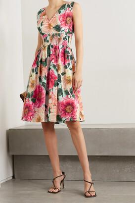 DOLCE & GABBANA - Shirred Floral-print Cotton-poplin Dress - Pink