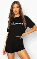 boohoo Mia Bridesmaid Bridal T-shirt And Shorts PJ Set black