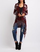 Charlotte Russe Striped Mixed Knit Cascade Cardigan