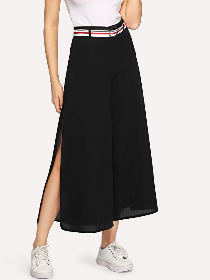 Adjustable Belted Wide Leg Pants