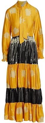 Busayo Ope Mixed-Print Cotton Shirtdress