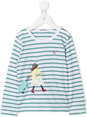 Familiar stripped long-sleeve T-shirt