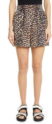 Ganni Leopard Print Cotton & Silk Shorts