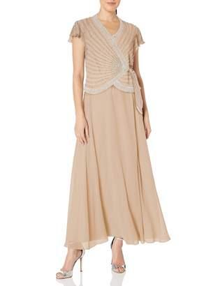 J Kara Women's Petite Short Sleeve V Neck Faux Wrap Long Dress