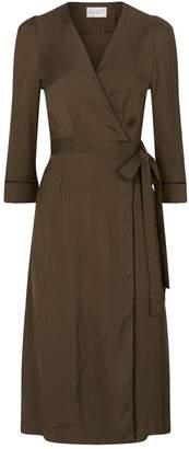 Claudie Pierlot Flocked Leopard Print Wrap-Around Dress