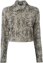 Just Cavalli python effect cropped jacket - women - Cotton/Polyamide/Spandex/Elastane/Viscose - 40
