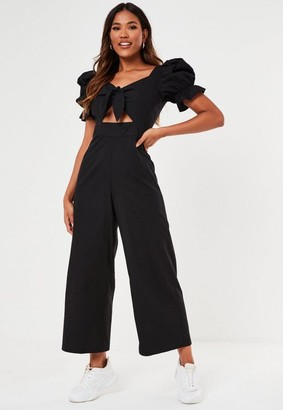 Missguided Black Puff Sleeve Tie Front Culotte Romper