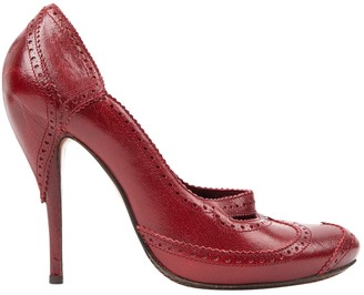 Alexander McQueen Burgundy Leather Heels