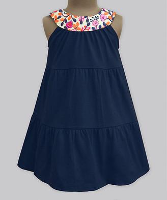 A.T.U.N. Girls' Casual Dresses Kashmir - Navy Kashmir Garden Embroidered Yoke Dress - Infant, Toddler & Girls