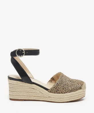 Sole Society Women's Channing Espadrille Wedges Black Tan Combo Size 5 Fabric From