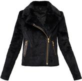 Muu Baa Muubaa Black Rabbit Fur 'Spitfire' Biker Jacket