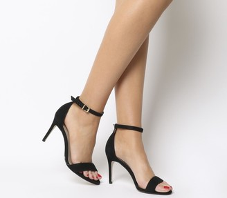 Office Mimosa Two Part Mid Sandals Black Nubuck