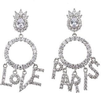 Eye Candy Los Angeles Love Paris CZ Crystal Drop Earrings