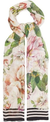Dolce & Gabbana Floral-print Silk-crepon Scarf - Pink Multi