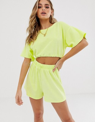 ASOS DESIGN jersey towelling beach crop top with bungee ties in washed neon co-ord