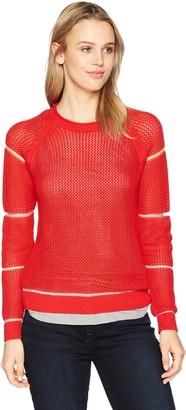 Michael Stars Women's Sheer Stripe Long Sleeve Crew Neck Pullover