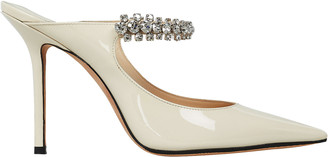 Jimmy Choo Bing Patent Crystal-Embellished Mules