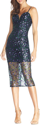 Dress the Population Addison Sequined Spaghetti-Strap Illusion Dress