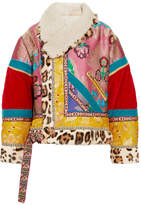 Etro Oversized Patchwork Jacquard, Velvet, Shearling And Calf Hair Jacket - Pink