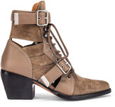 Chloé Lace Up Buckle Boots in Motty Grey | FWRD