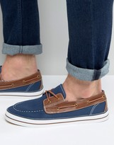 Asos Boat Shoes in Navy Canvas