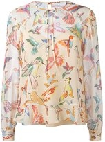 RED Valentino bird print blouse