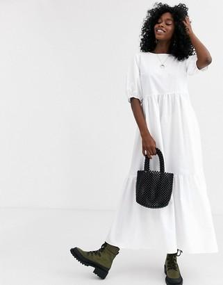 Asos Design DESIGN tiered cotton smock midi dress-White